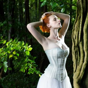 Bridal corset in the woods