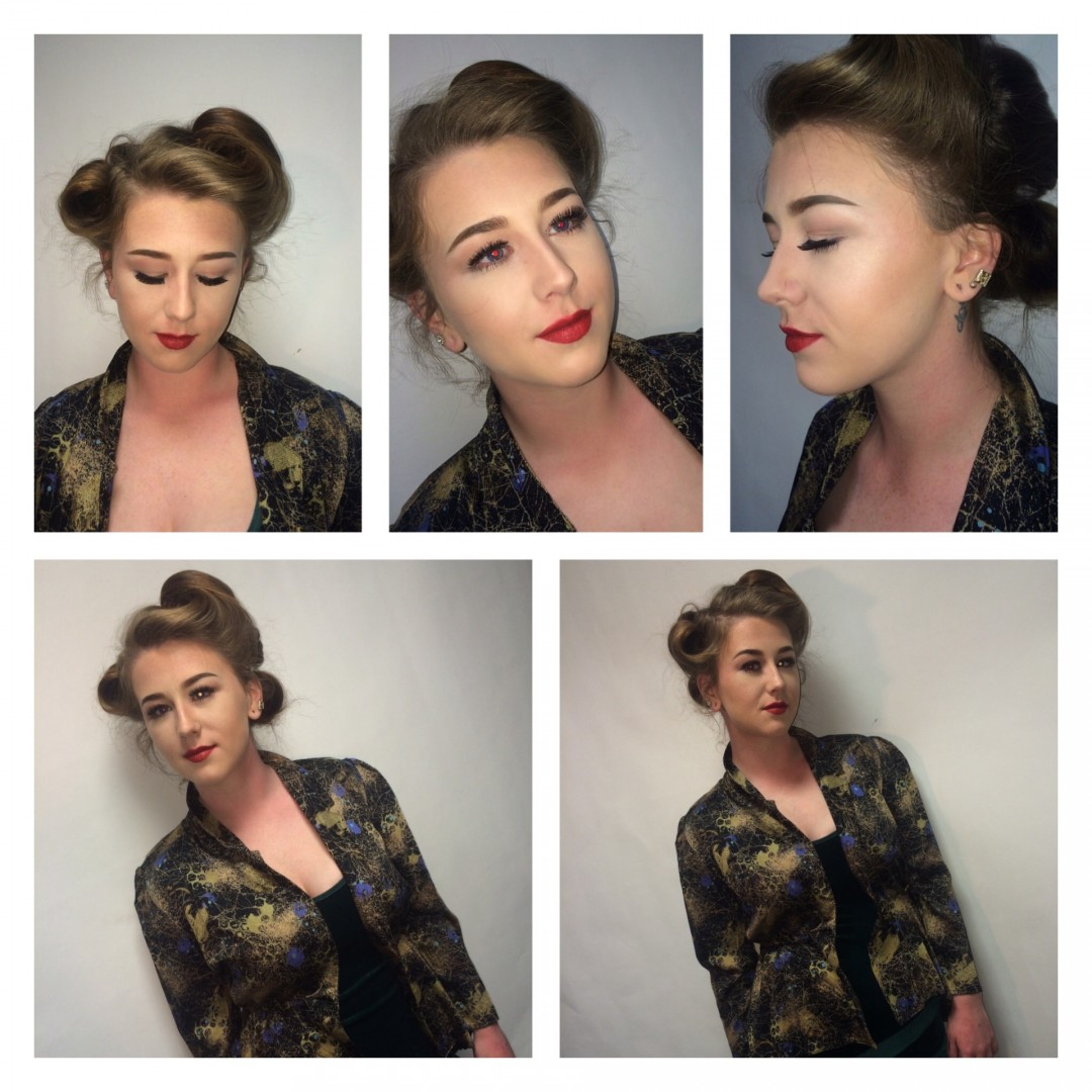 For this theme I chose 1940's so I chose a simple eye liner, red lips, and victory rolls for the hair, a very simple look which is how women looked in 1940s.