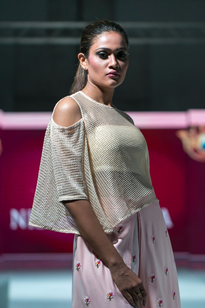 Model poses during 'Lakme Fashion Week - 2016' at The Kingsbury Hotel, Colombo, Sri Lanka